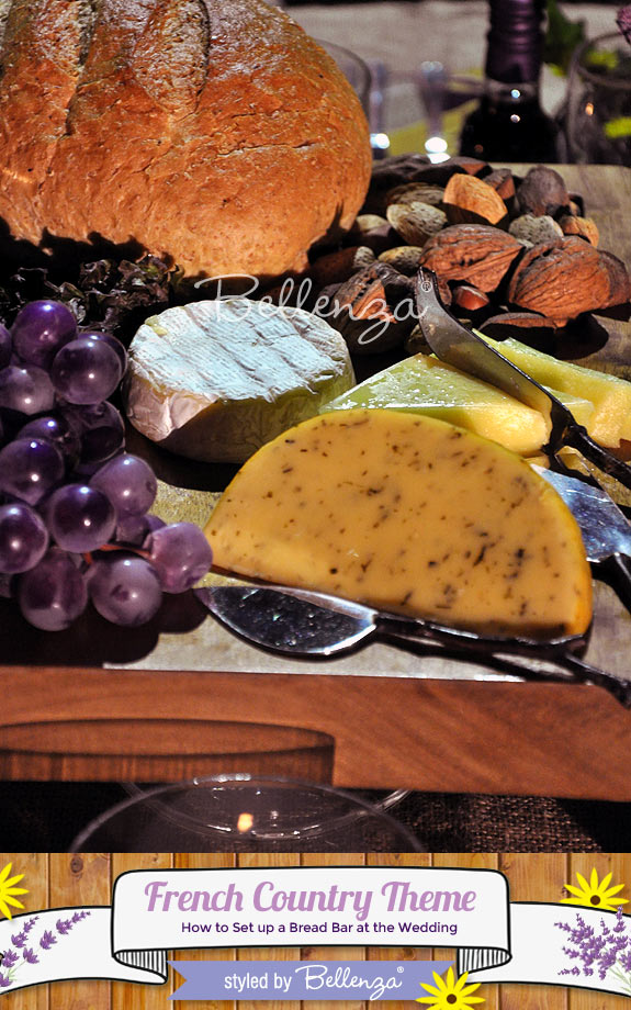French Country-inspired Bread Bar Station! Spread of Various Cheeses on a Cheeseboard.