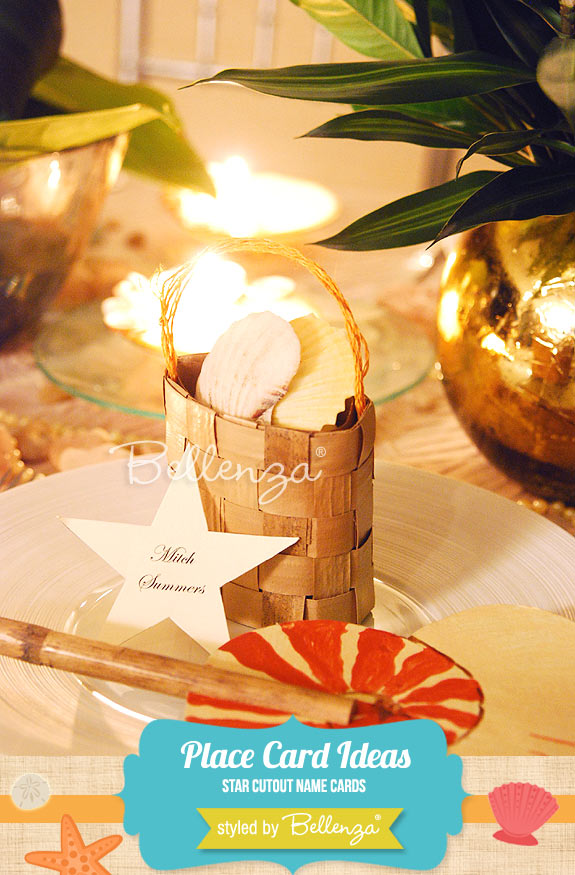 Star cutout name cards propped up by mini baskets of seashells for making homemade beach-inspired place cards