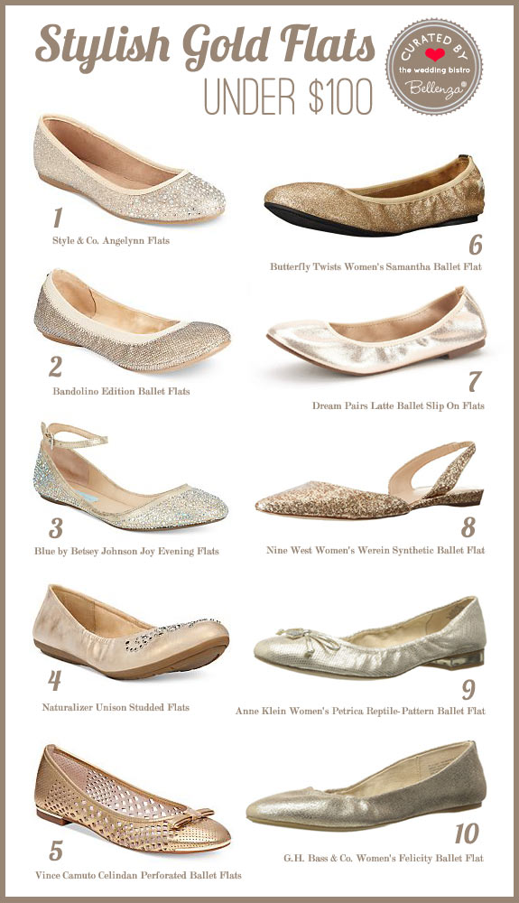 Gold Ballet Flats for Weddings for Under $100 // curated by the Wedding Bistro at Bellenza.