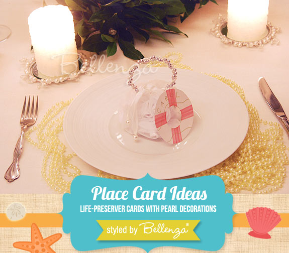 Life-preserver cards with pearl-embellished decorations