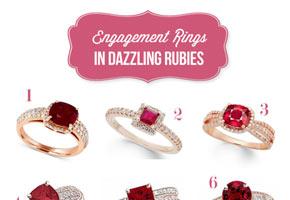 July birthstone engagement rings in rubies