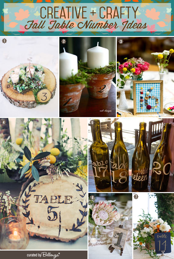 Table Numbers and Centerpieces for Fall