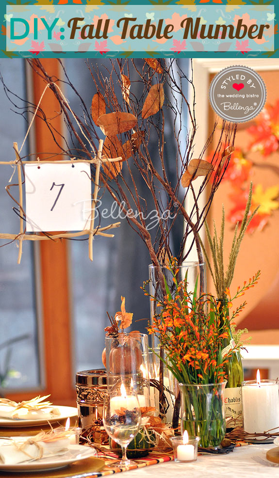 Fall table number on a tablescape.