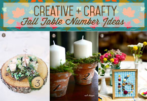 Crafty fall table numbers using wine bottles and other materials from home.