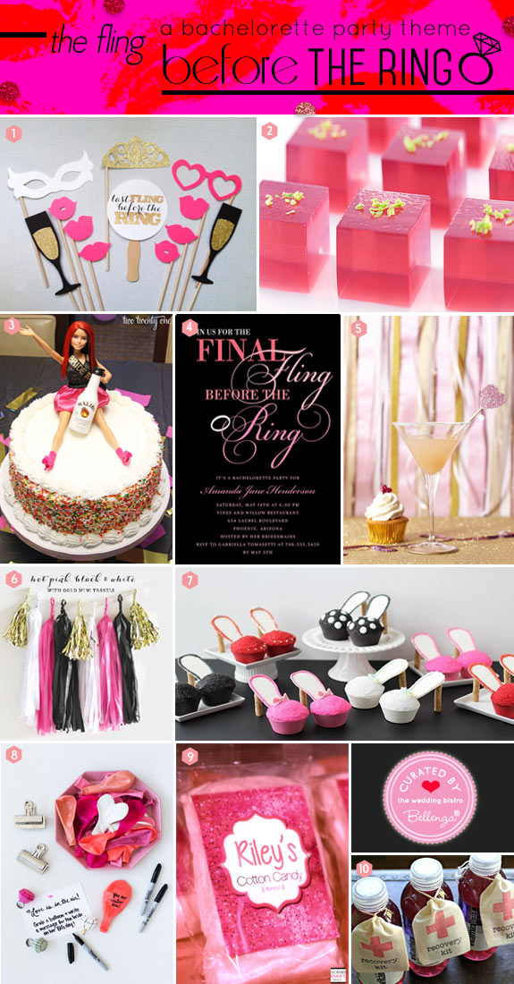 Final Fling Before the Ring Bachelorette Party Inspiration Board of Decor, Desserts, and Drinks.