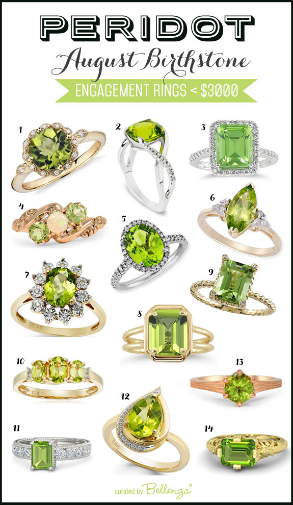 Peridot Engagement Rings for Less Than 3K // featured on The Wedding Bistro at Bellenza.