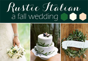 Rustic palette of green for an  Italian-inspired Fall Wedding.