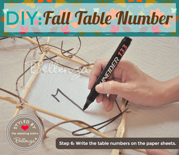 Write table numbers on each framed sheet.