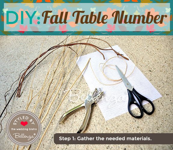 Gather the needed materials such as twigs to make the table number frame.