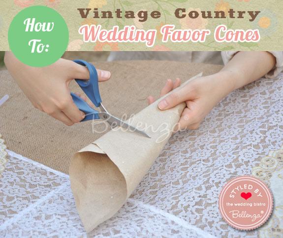 Trim the open end of the paper cone // DIY Favor Cones
