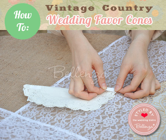 Attach double-sided tape to the doily on one side // Favor Cones by Bellenza