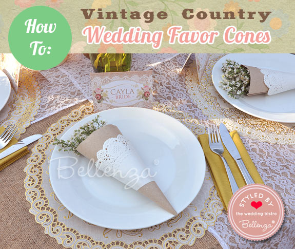 Favor cones for a Vintage Country theme by Bellenza.