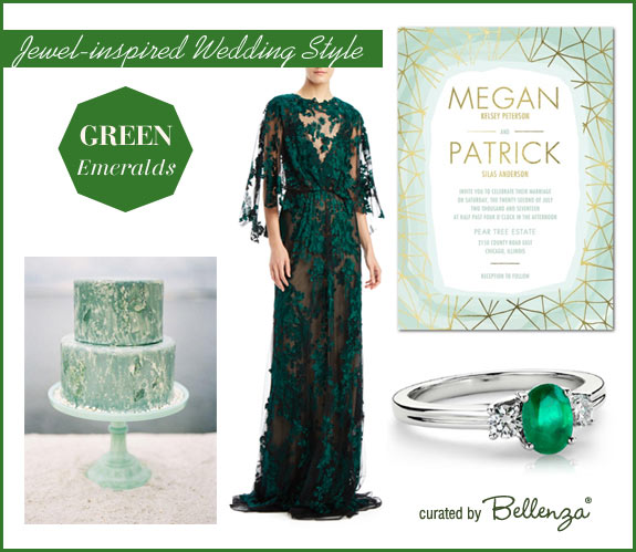 Emerald green wedding palette - jeweled tones for fall