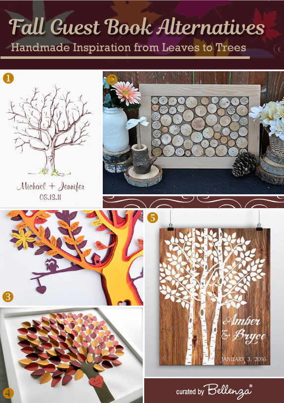 Fall Guest Book Alternatives. Handmade Inspiration from Leaves to Trees