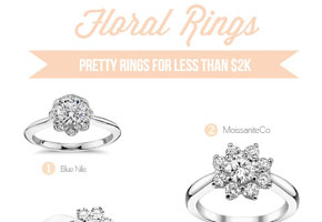 Floral engagement rings less than $2K