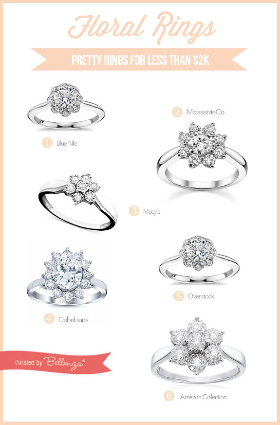 Floral Engagement Rings. 6 Budget-Friendly Finds Less than $2000