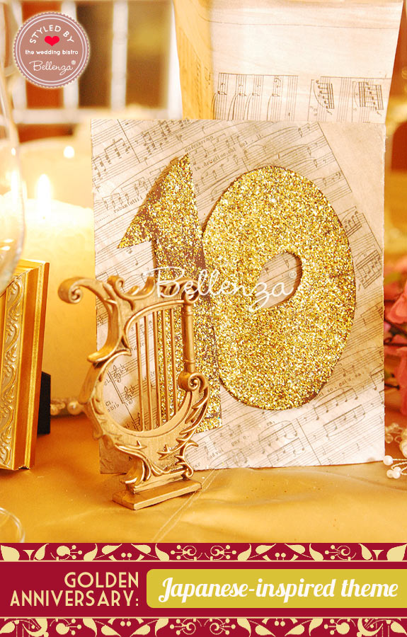 Gold glitter table music theme