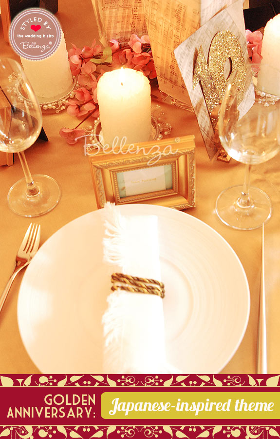 Napkin setting with gold cord and Asian accents