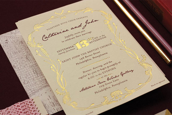Paisley Quill burgundy invites
