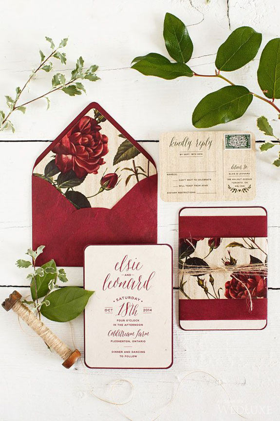 Paper and Poste burgundy botanical-inspired stationery set