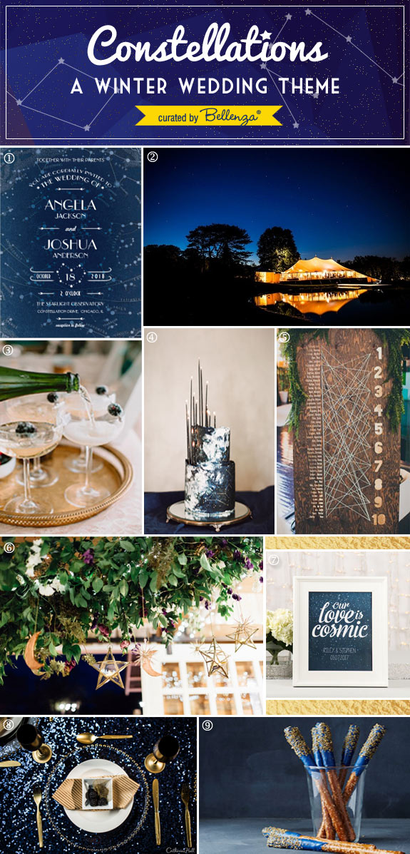 Styling Tips for a Constellation-themed Winter Wedding in Blue and Gold