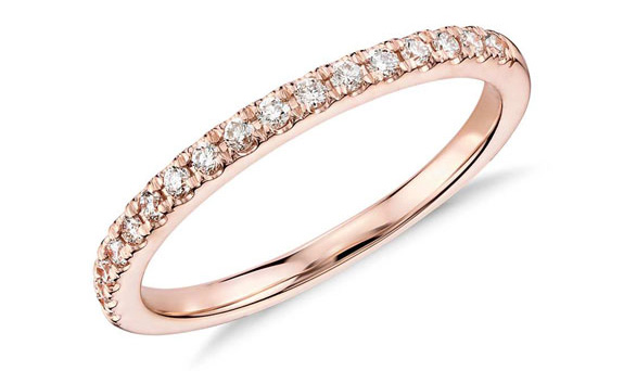 rench Pavé Diamond in 18k Rose Gold