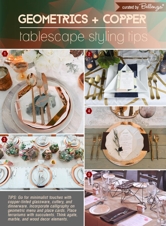 Modern Fall Tablescape Ideas Using Geometrics and Copper
