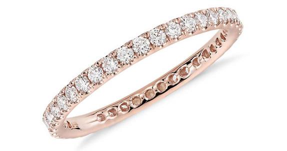 Riviera Pavé Diamond Eternity Ring in 14k Rose Gold