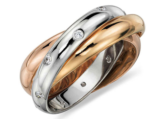 Tri-color Rolling Starlight Diamond Eternity Ring in 18k White, Yellow and Rose Gold