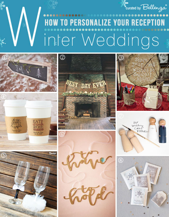 Creative Ways to Personalize Your Winter Wedding Reception. Curated by Bellenza.