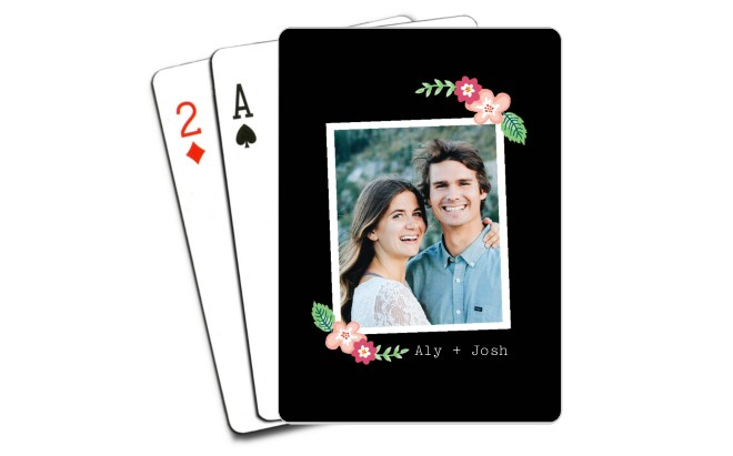 Chalkboard Floral Frame Playing Cards
