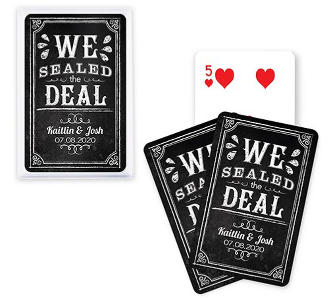 we sealed the deal chalkboard playing cards