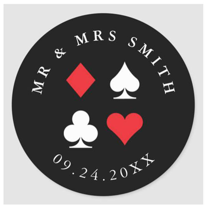 playing cards stickers in black and red
