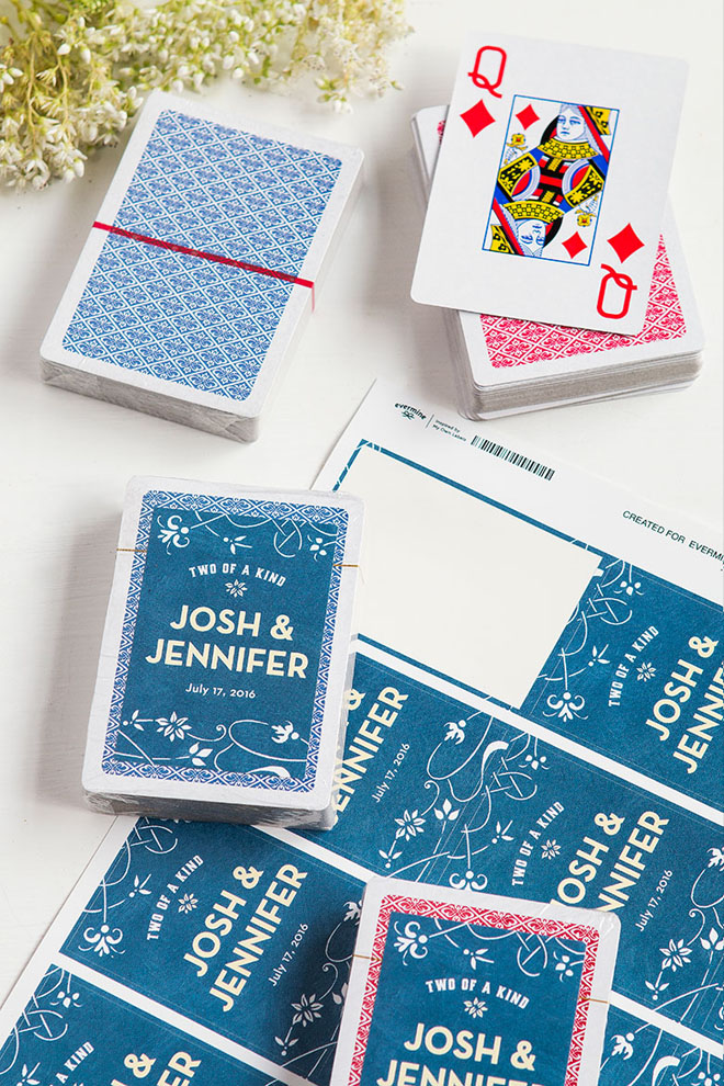 """Two of a Kind"" Playing Card Wedding Favors via Evermine"