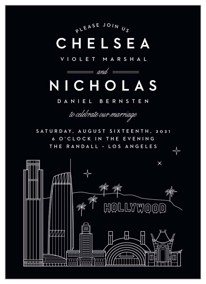 Black LA Skyline Invitation