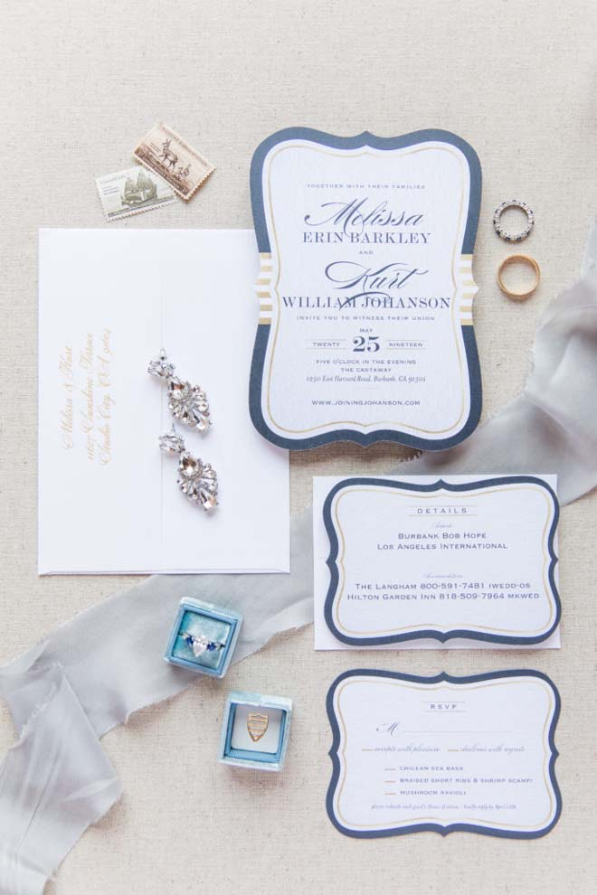 Invitation Suite with Die-cut Blue Borders for a Burbank, CA Wedding