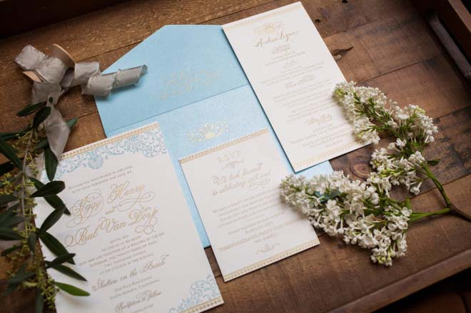 Blue and Gold Invitation Suite for a Santa Monica Wedding