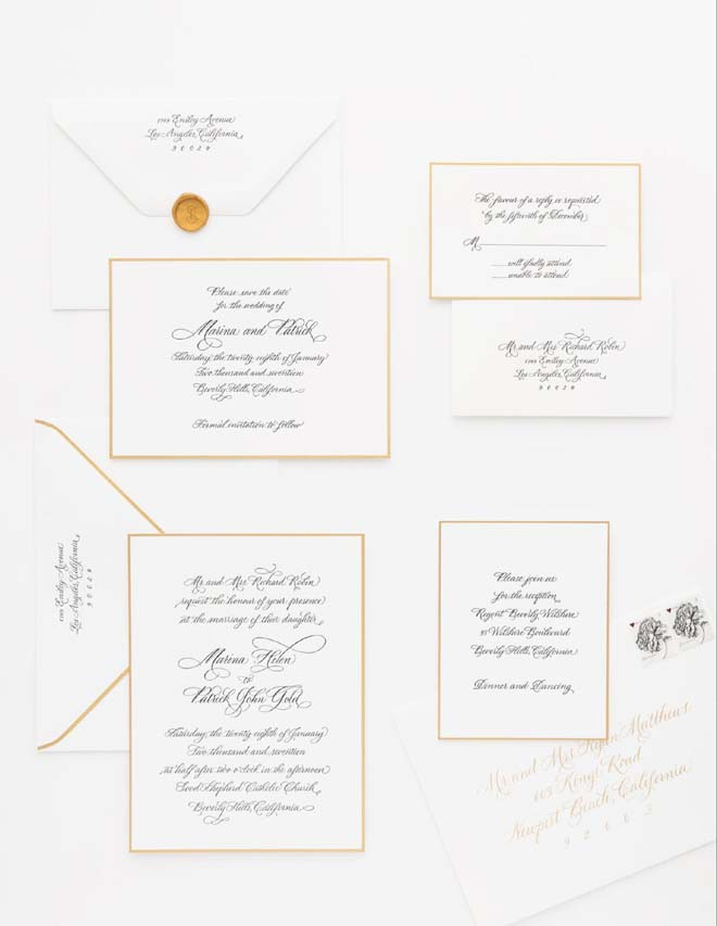 Gold-edged Letterpress Wedding Invitations and Envelopes