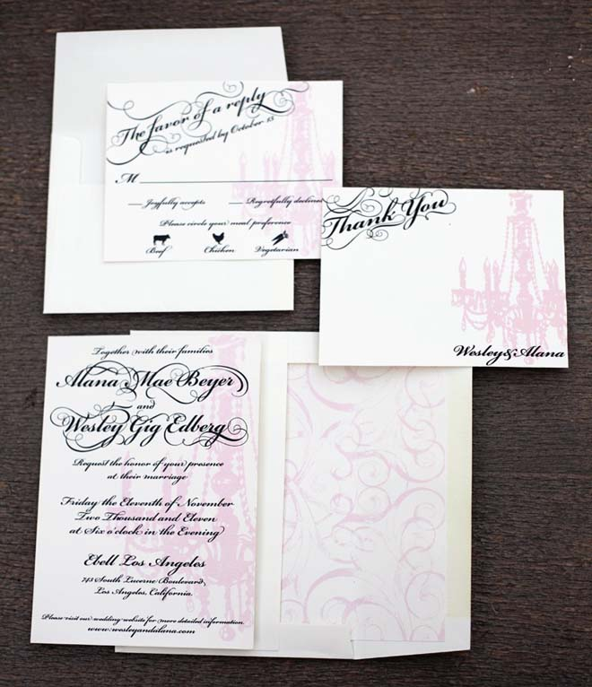 Old Hollywood Wedding Invitation Design