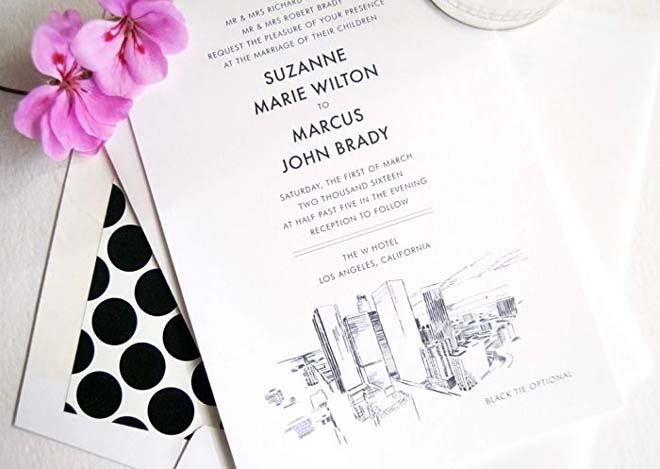 Los Angeles Skyline Wedding Invitation Package - from Amazon