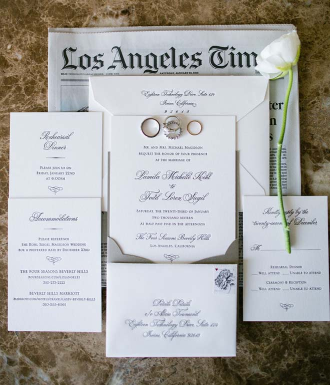 Classic Invitation Suite from a Beverly Hills Wedding