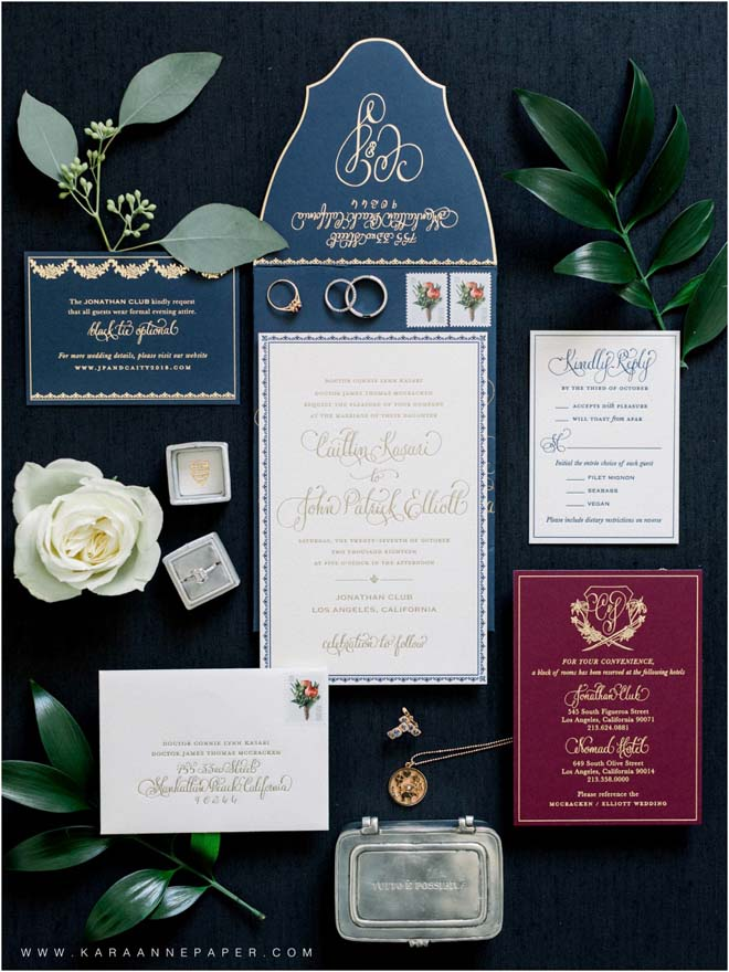 Luxe Invitation Suite for a Black-tie LA Wedding at The Jonathan Club