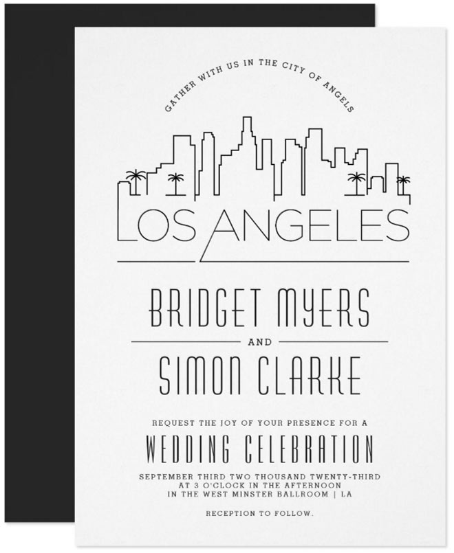Los Angeles Stylized Skyline Wedding Invitation - from Zazzle