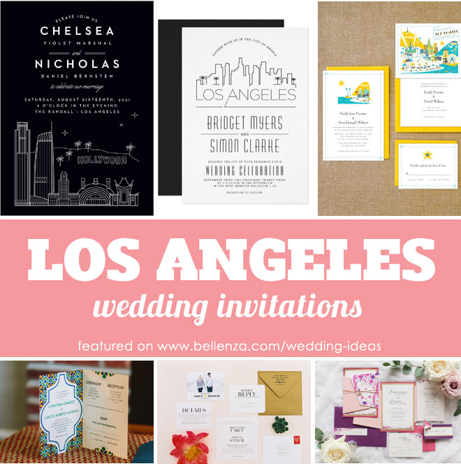 Invitations for a wedding in Los Angeles