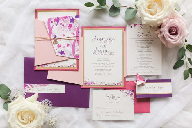 Modern Japanese-inspired Invitation Suite for a Downtown Los Angeles Wedding at the Doubletree by Hilton Hotel