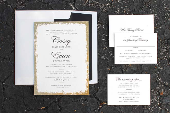 Modern Gold and Black Los Angeles Wedding Invitation