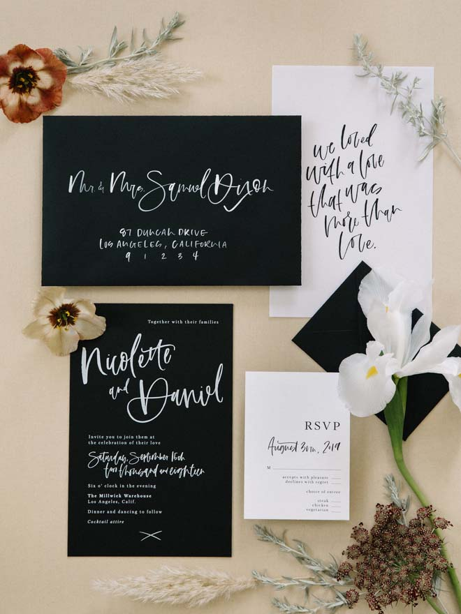 Black and White Invitation Suite for a Modern Mystical Wedding Shoot
