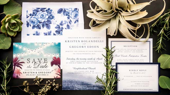 Navy and White  Invitation Suite for a Palos Verdes Wedding