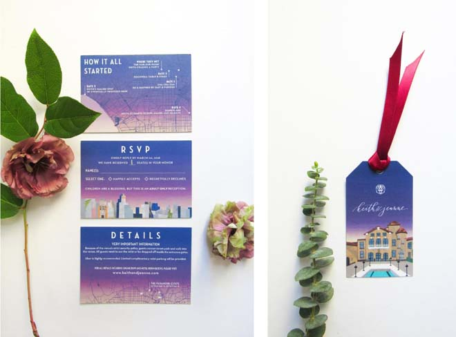 Vibrant Invitation Suite for a Paramour Estate Wedding