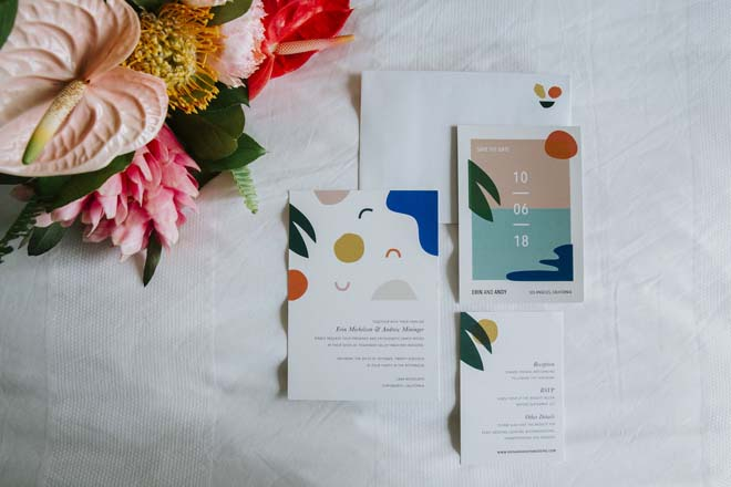 Pop Art-style Invitation from a Los Angeles Private Estate Wedding